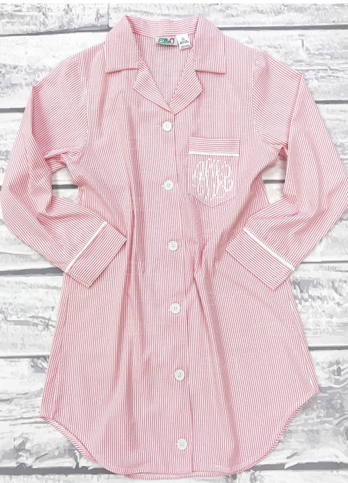 Womens Pink Seersucker Night Shirt