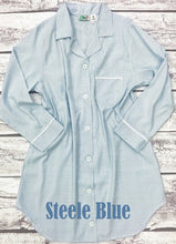 Load image into Gallery viewer, Women's Steele Blue Seersucker Night Shirt (XL and XXL Only)