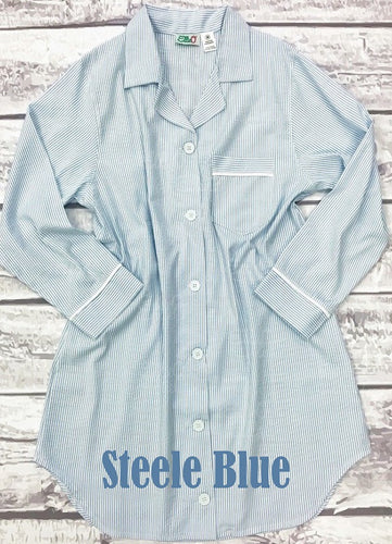 Women's Steele Blue Seersucker Night Shirt (XL and XXL Only)