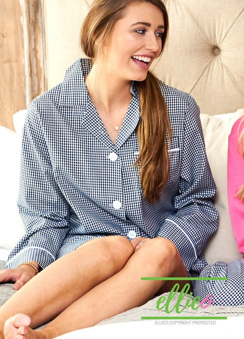 Gingham Night Shirt - Navy