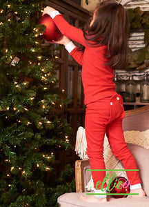 Holly Jolly Two-Piece Jammies (SIZE 2/3/4/5 AND 10 ONLY) - Solid Red