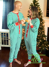 Load image into Gallery viewer, Adult Holly Jolly One-Piece Jammies - Green Stripe