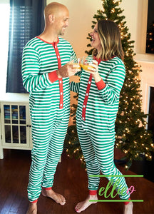Adult Holly Jolly One-Piece Jammies - Green Stripe