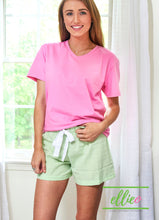 Load image into Gallery viewer, women's green seersucker lounge shorts