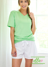 Load image into Gallery viewer, Green Poppy V-Neck Tee