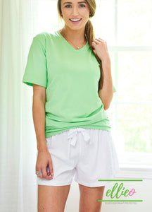 Green Poppy V-Neck Tee