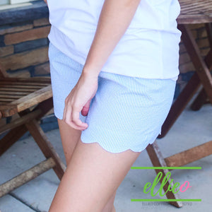 Seersucker blue scallop shorts