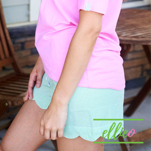 Seersucker green scallop shorts