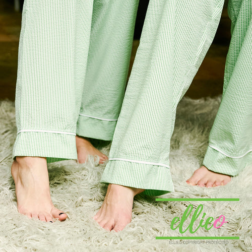 Womens Green Seersucker Pajama Pants
