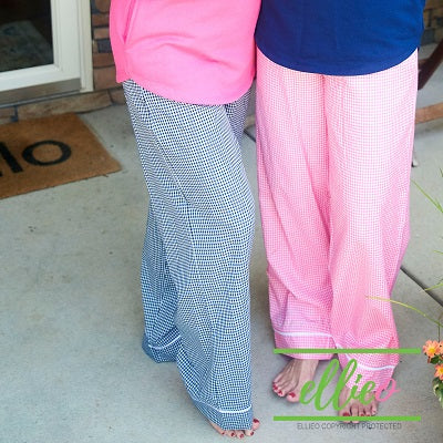 Womens Navy Gingham pajama pants