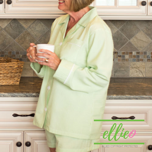 Women's Green Seersucker lounge shorts set