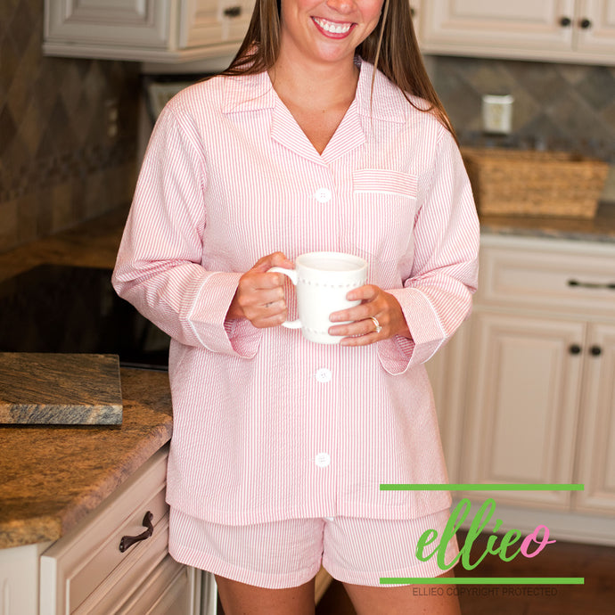Women's Pink Seersucker lounge shorts set