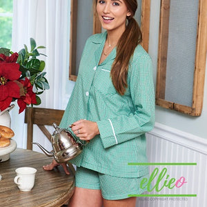 Gingham Pajama Short Set - Green