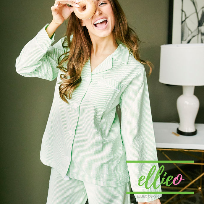 Women's green Seersucker Lounge Pant set