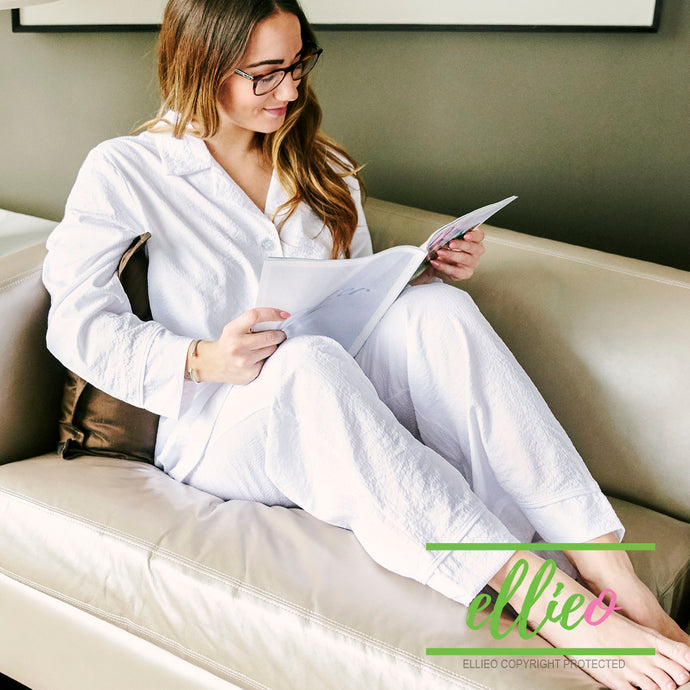 Womens White Seersucker Pajama Pant Set (ALL SIZES AVAILABLE)