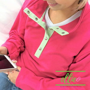 Womens Miller Pullover Hot Pink with Green Seersucker