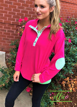 Load image into Gallery viewer, Womens Miller Pullover Hot Pink with Green Seersucker