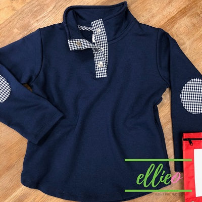 Youth Miller Pullover Navy/Navy Gingham