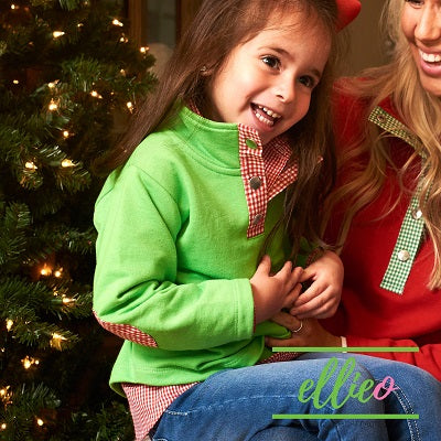 Toddler/Youth Pullover Green with Red Gingham