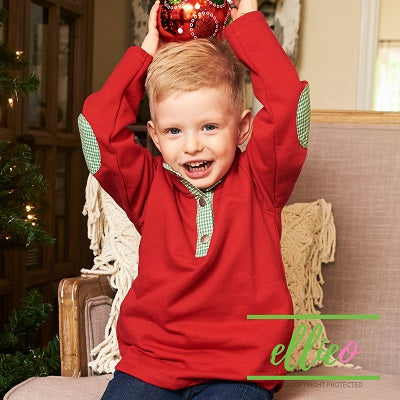 Toddler/Youth Pullover Red with Green Gingham