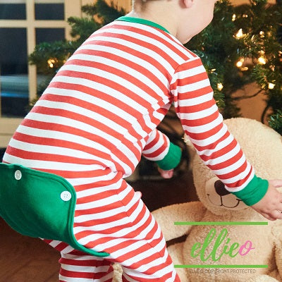 Holly Jolly One-Piece Jammies (SIZES 6M/ 12M/ 18MO ONLY) - Red Stripe