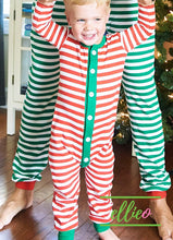 Load image into Gallery viewer, Holly Jolly One-Piece Jammies (SIZES 6M/ 12M/ 18MO ONLY) - Red Stripe