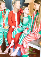 Load image into Gallery viewer, Holly Jolly Two-Piece Jammies - Green Stripe