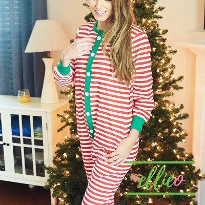 Womens Christmas Pajamas Red Stripe