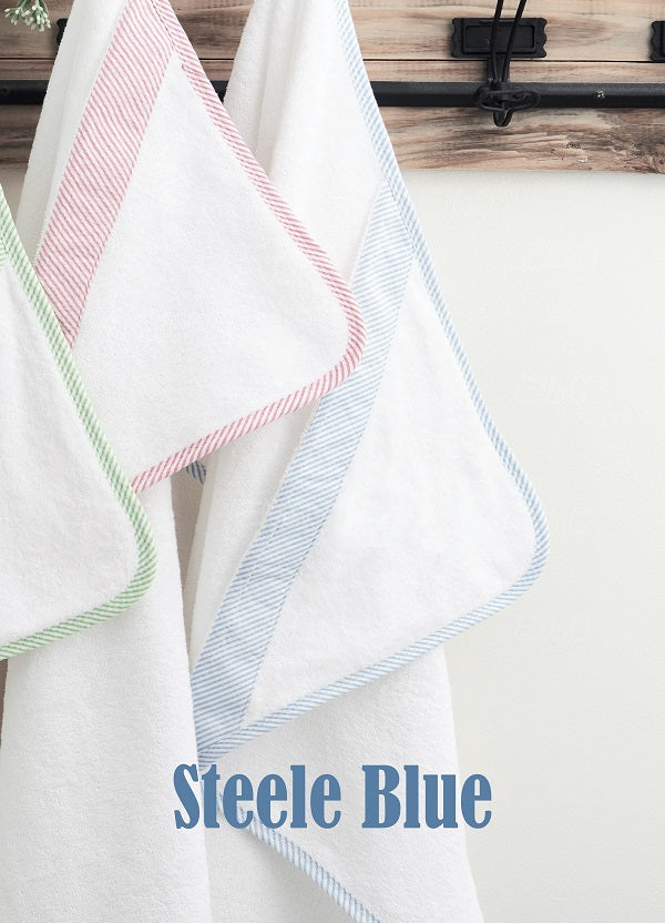 Seersucker Hooded Towel - Steele Blue