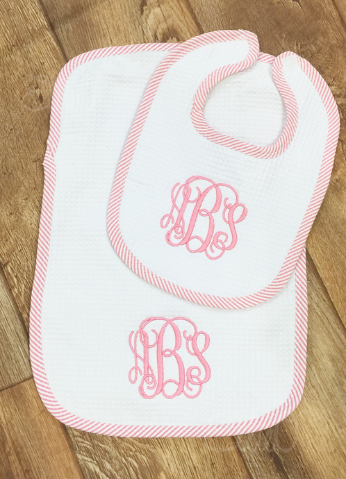 Seersucker Burp Cloth and Bib Set- Pink (BEING DISCONTINUED - WHILE SUPPLIES LAST)