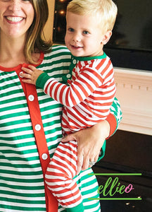 Holly Jolly One-Piece Jammies - Red Stripe