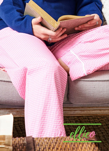 Womens Pink Gingham Pajama Pants