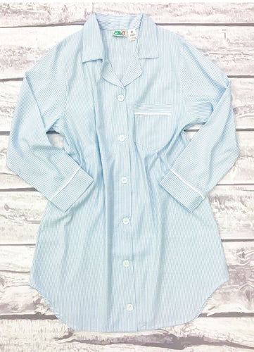 Womens Blue Seersucker Night Shirt
