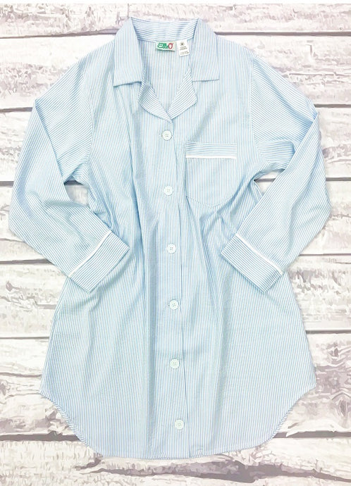 Womens Blue Seersucker Night Shirt (M ONLY)