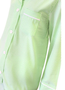 Womens Green Seersucker Pajama Pant Set