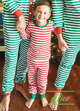 Load image into Gallery viewer, Holly Jolly Two-Piece Jammies (SIZES 2/ 3/ 4/ 5/ AND 6 ONLY) - Red Stripe