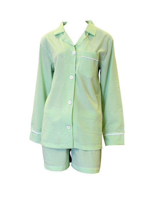 Green Seersucker Pajama Short Set