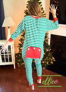 Adult Holly Jolly One-Piece Jammies - Green Stripe (XXS/XS/S ONLY)