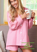 Load image into Gallery viewer, Womens Pink Gingham Pajama Short Set