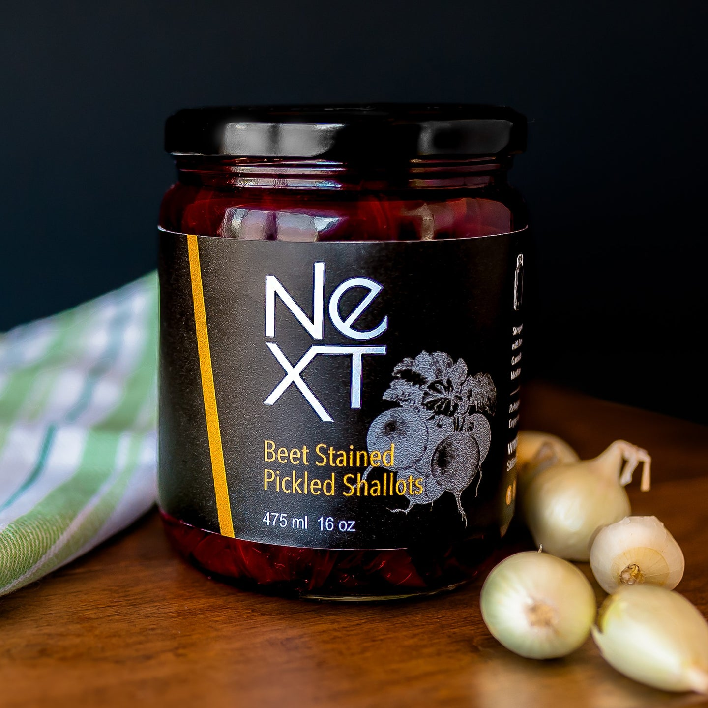 Beet Stained Pickled Shallots  475 | 16oz