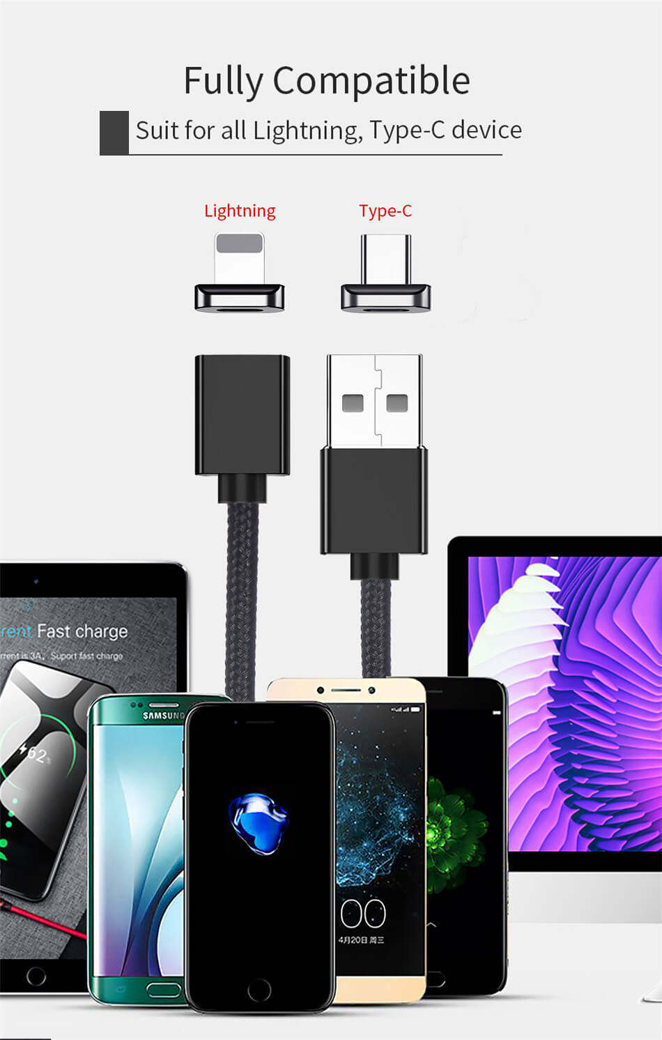 3 3e247e93 54a8 4fec 85cb caed38cf2479 - ***PACK OF 3*** Magnetic USB Cable [Fast Charging & Transmission] (6.5FT)