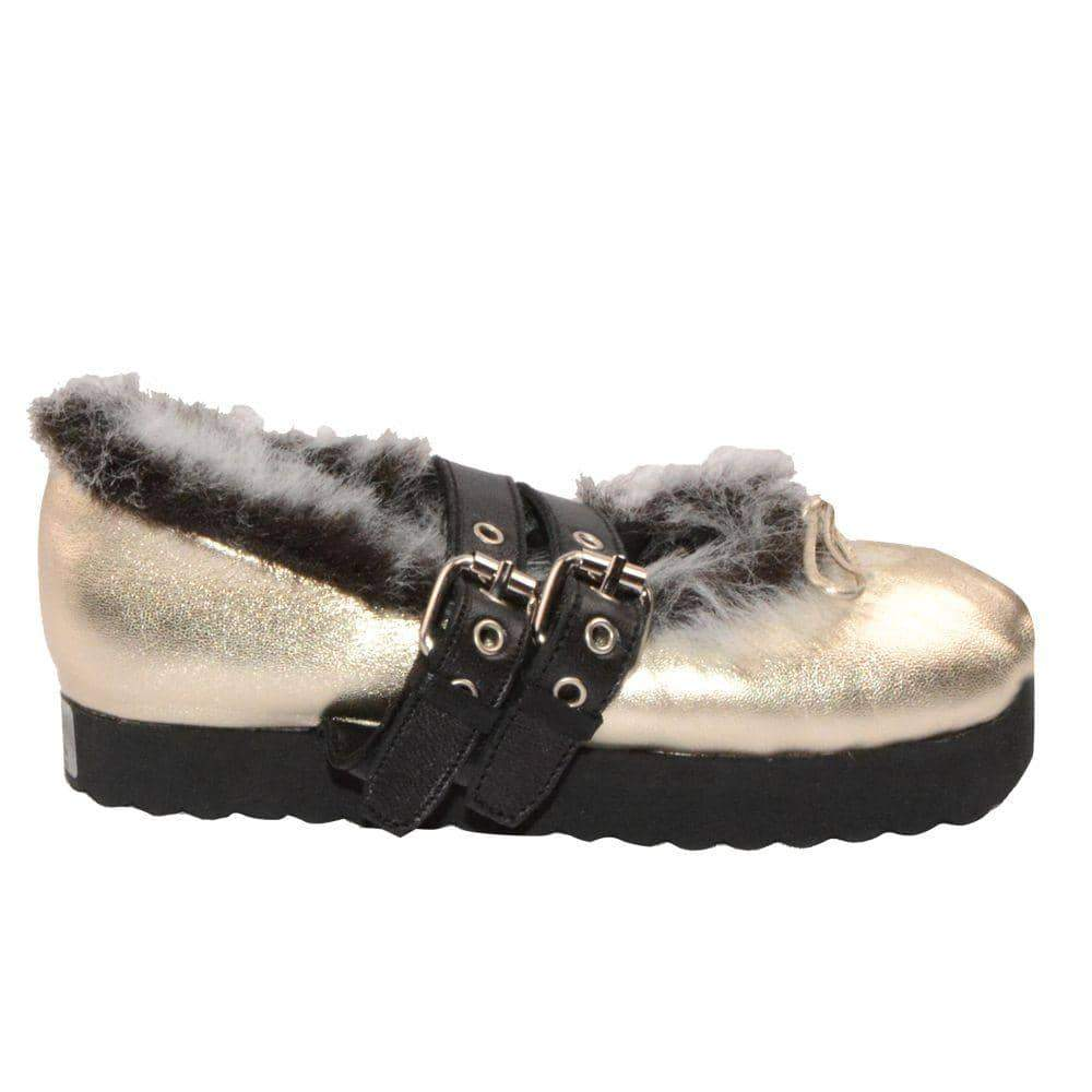 Gold Fur Lined Ballerinas