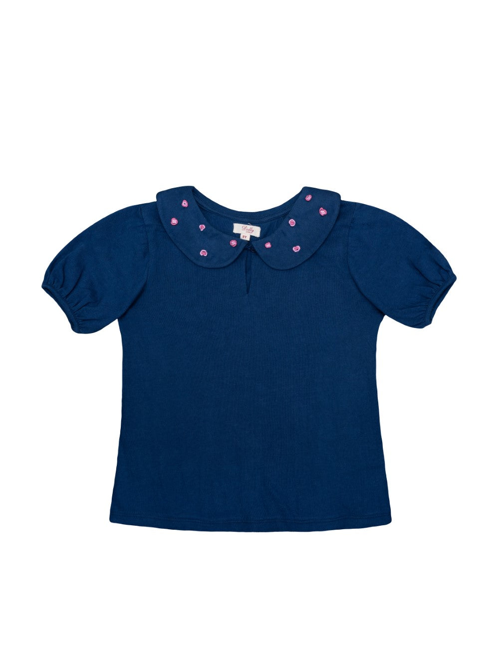 Navy Embroidered Collar Tee