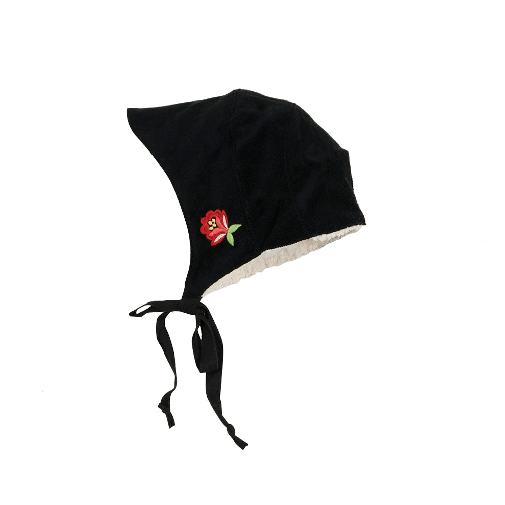 Black Reversible Winter Bonnet