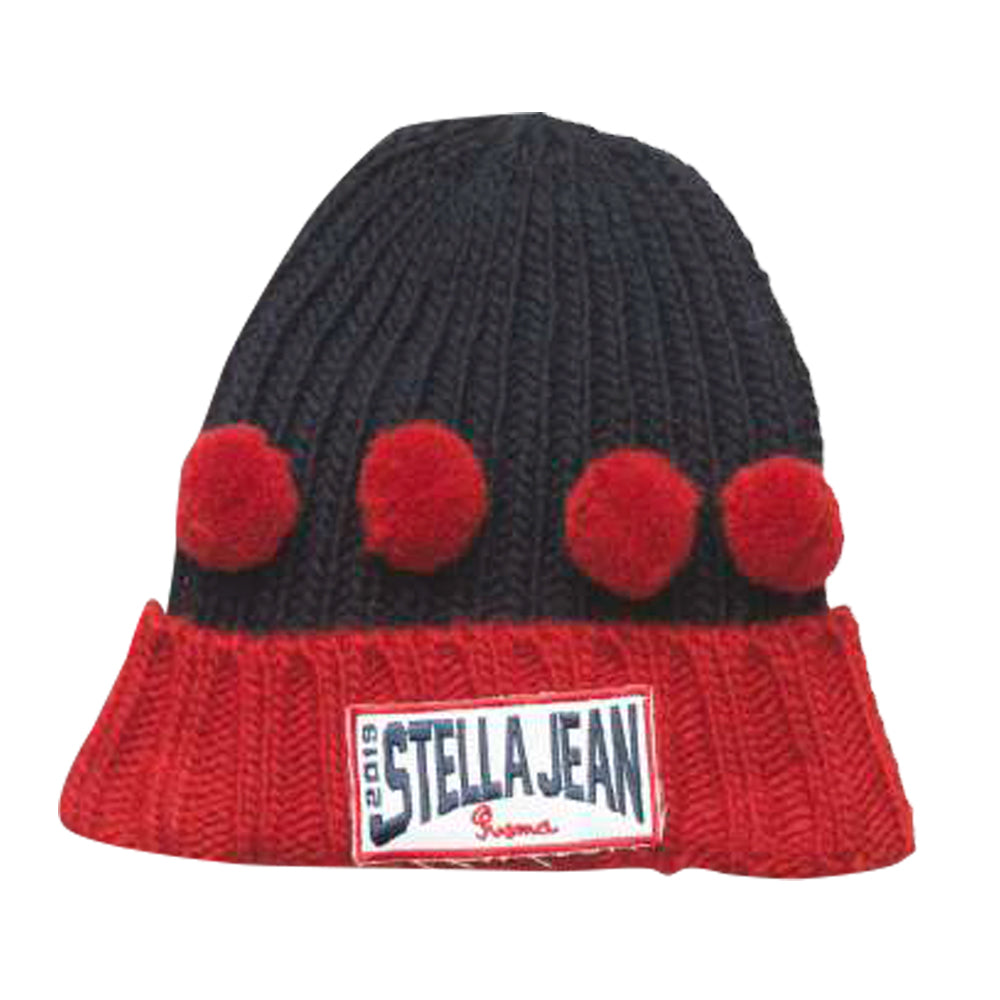 Navy and Red Pompom Hat