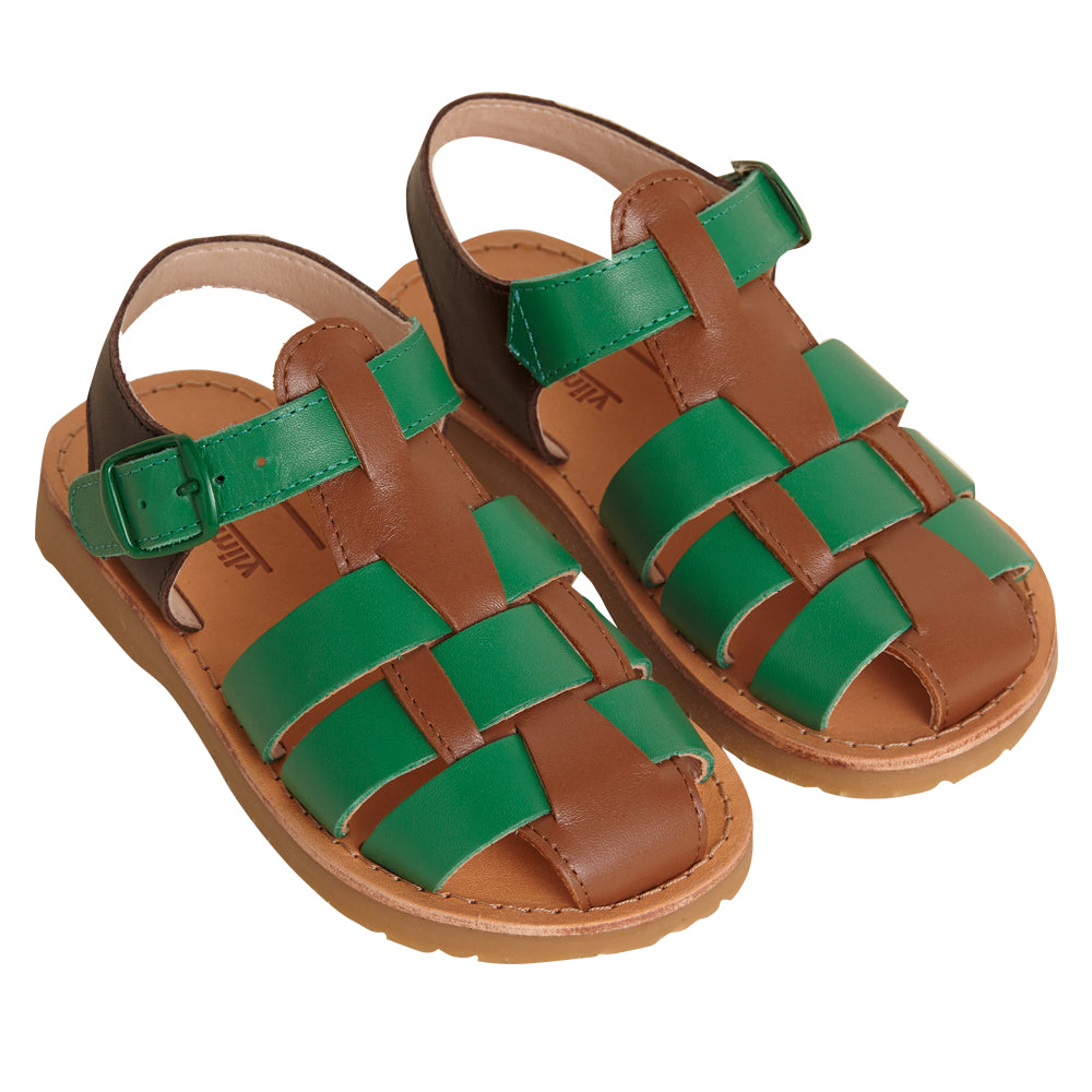 Pike Tan and Green Sandals