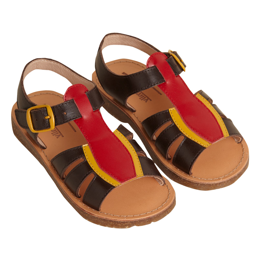 Birdie Brown and Red Sandals