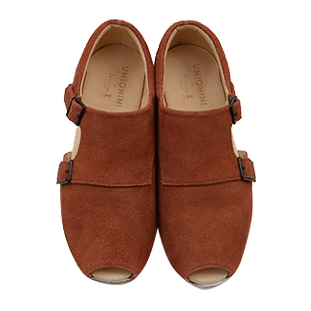 Brick Brown Monk Strap Shoes