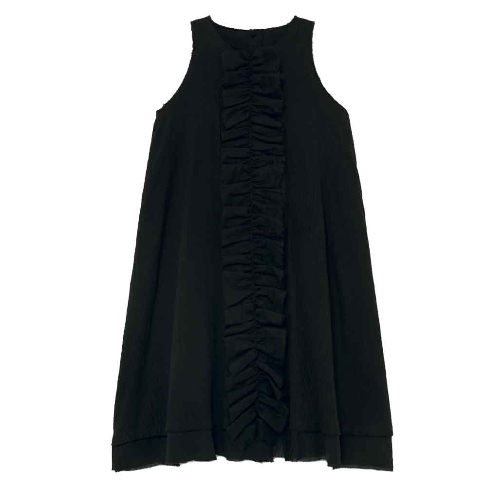 Muslin Black Ruffle Dress