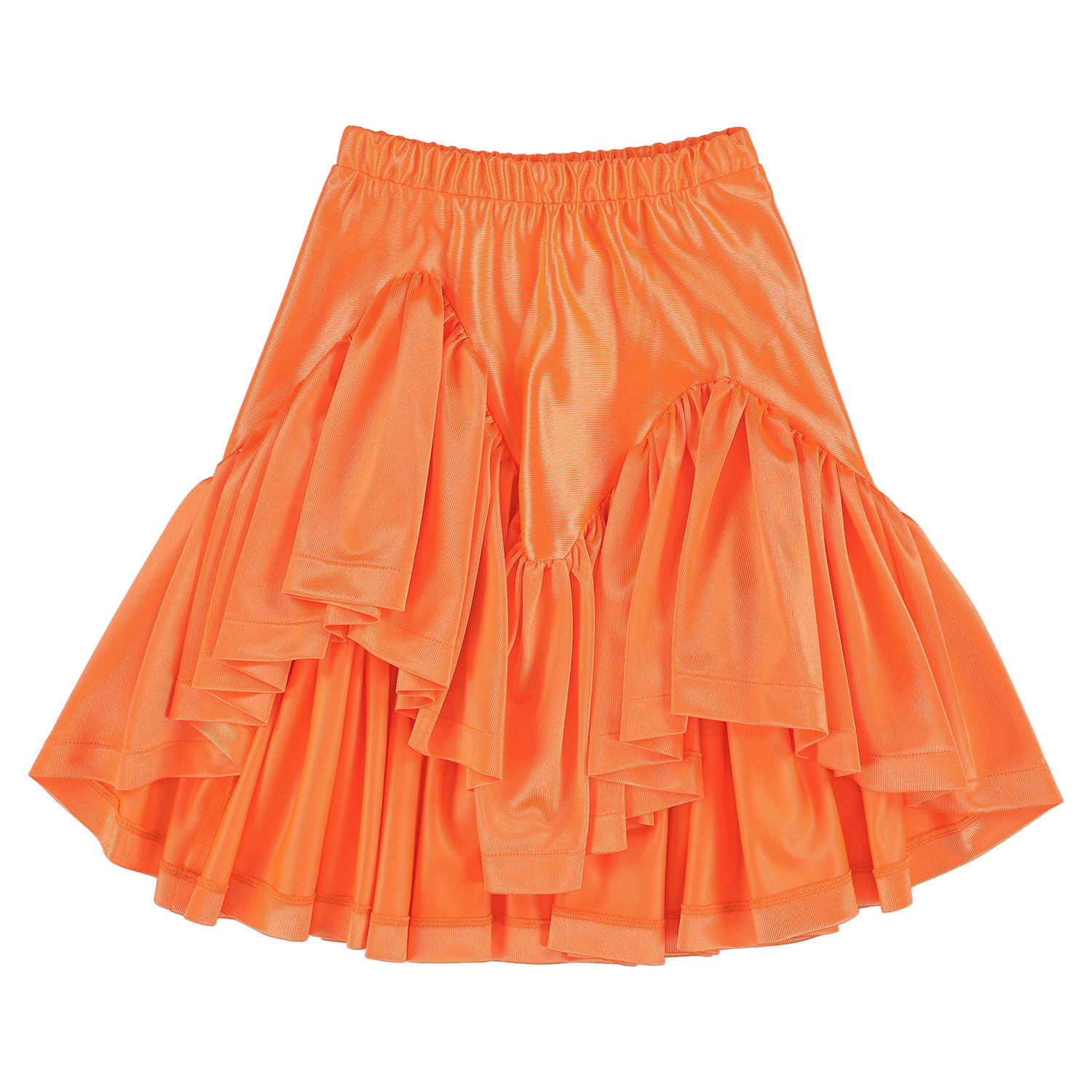 Glimmer Fluo Orange Shiny Ruffled Skirt